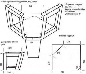Угловой кухонный диван - схема мебели своими руками